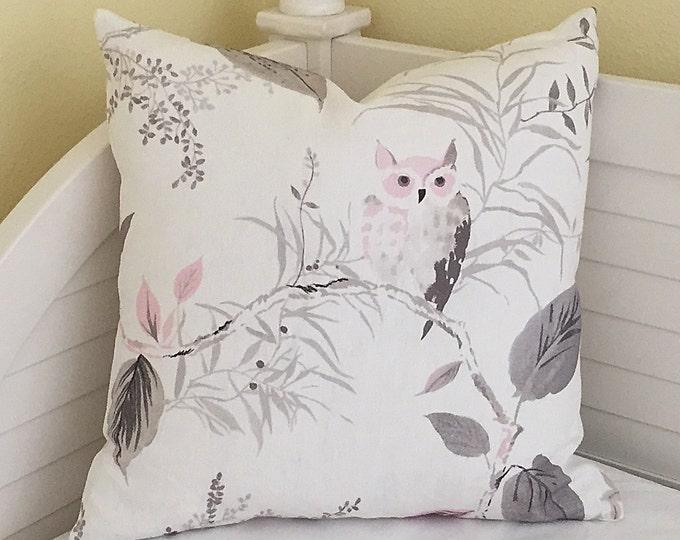 Kravet Owl in Blush Designer Pillow Cover - Square and Euro Sizes