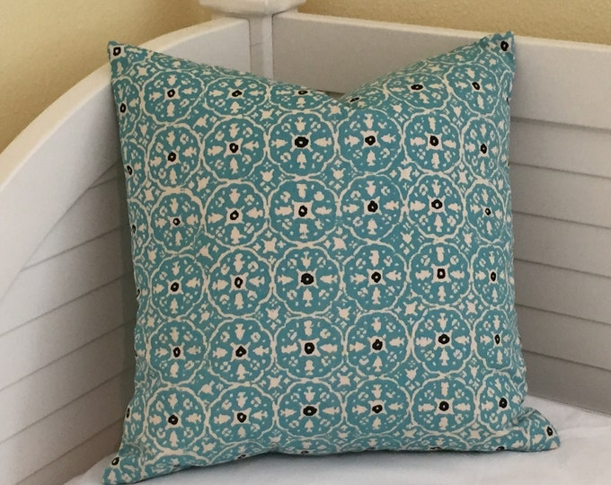 Quadrille China Seas Nitik Turquoise on Tint Suncloth Indoor Outdoor Designer Pillow Cover- Square, Lumbar and Euro Sizes