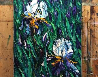 Original Iris Irises Oil Painting Textured Palette Knife Contemporary Floral Modern Art 16X27 by Willson