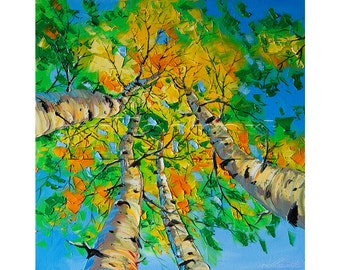 Autumn Birch Landscape Painting Oil on Canvas Textured Palette Knife Modern Original Tree Art Seasons 20X20 by Willson Lau