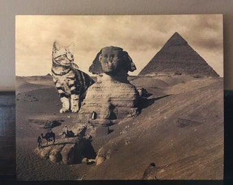 Cat Art, Sphinx, Cat Print, Great Sphinx, Egypt, Pyramids, Cats, Funny Cat Art, Alternate Histories