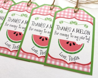 Watermelon Favor Tag, Watermelon Thank You Tag, Watermelon Birthday, Watermelon Party Decor, Watermelon Party Favors, Summer Birthday Party