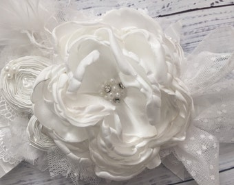 My baby blessing cozette couture flower headband blessing headband baptism christening