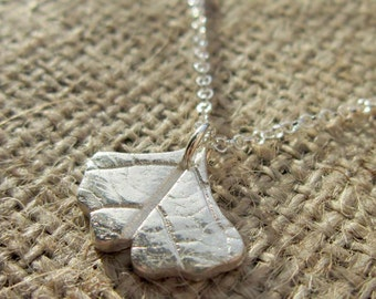 Fine silver Ginkgo biloba Leaf Pendant Necklace - Sterling silver chain OOAK handcrafted