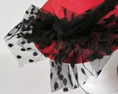 Vintage Red Day-at-the-Races Style Hat with Black Dotted Netting Bow 1980s