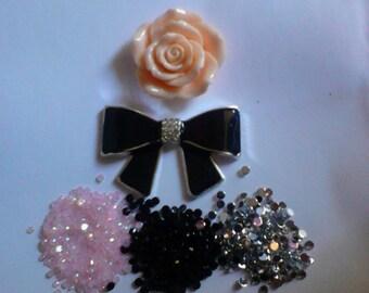 Black chic metal bow charm decoden deco diy kit # 483---USA seller