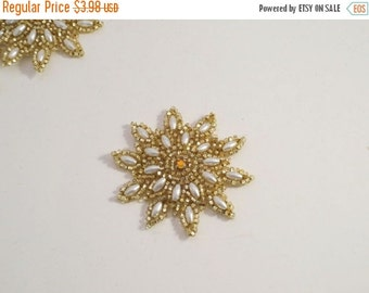 ON SALE Small Pearl and Gold Beaded Starburst Design Appliques--One Piece