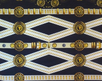 Fabulous Designer Lions Head Belt Print Pure Cotton Fabric from Italy--By the Yard
