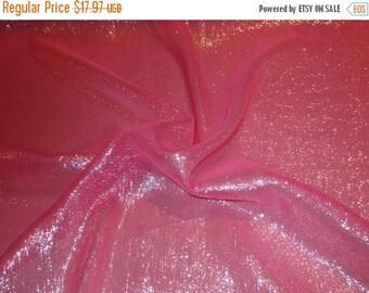 ON SALE Hot Pink with Silver Metallic Silk Chiffon Fabric--Yard