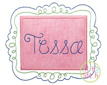 """Fancy Frame for machine embroidery, size 4x4, 5x7 & 6x10, Shown with our """"Happy Day Floss"""" Font NOT Included, INSTANT DOWNLOAD now available"""