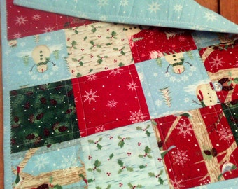 "CLEARANCE --- Winter Wonderland Reversible Machine Quilted Table Runner with Snowman, Owls and Snowflakes (45.5"" by 18.5"")"