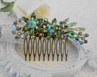 Peridot Hair Comb, Floral Hair Comb, Jeweled Hair Piece, Green Hair Comb, Rhinestone Hair Comb, Vintage Bride, Assemblage Hair Jewelry