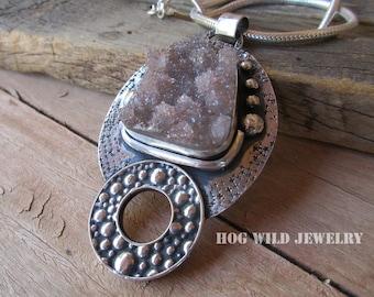 Artisan Handmande Women's Druzy Quartz Silver Smith Pendant Necklace