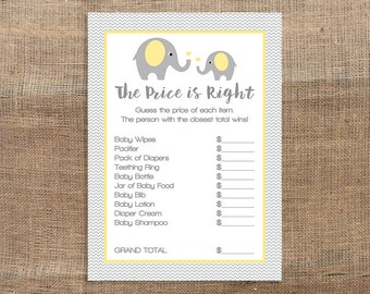 Yellow Price is Right Game, Yellow Elephant Baby Shower Game, Grey Chevron, Gender Neutral, DIY Printable, INSTANT DOWNLOAD