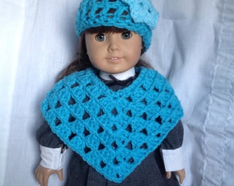 Doll poncho and hat set