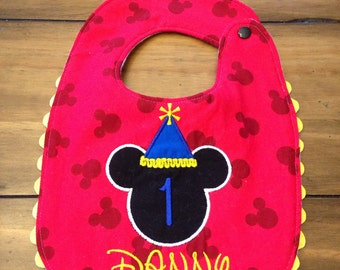 Mickey Birthday Hat Bib