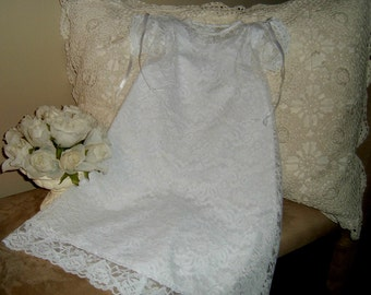 Lace Christening Gown and Slip size 6 mo. Heirloom Inspired, Reclaimed Textiles, Lace Baptism Dress