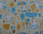 "Raining day,cat and mouse - 3 colors - 1 yard - cotton linen - animal fabric-for tote,Check out with code ""5YEAR"" to save 20% off"