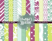 Digital Scrapbook Paper Pack Summer Colors Purple, Teal, Lime Ikat Bird Flower Chevron Background  - Commercial Use - Taking Risks