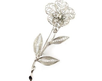 Filigree flower brooch / silver filigree pin brooch / vintage silver filigree brooch / vintage 80's floral brooch / Holiday gift for her