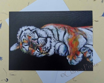 Tiger Art Card Blank Greeting Card From my Original Acrylic Painting