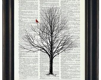 BOGO SALE Cardinal Art Print Dictionary HHP Original Book Page Print Upcycle Wall Art Book Art Vintage Dictionary Tree Dictionary Page