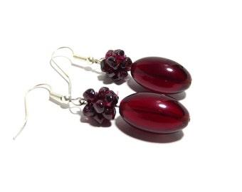 Garnet Stone Earrings, Women, Teen, Red, Ready To Ship, Stainless Steel