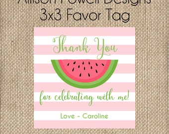 Watermelon Birthday Party Summer Birthday Party - Print your own - Pink or Red - Favor Tag