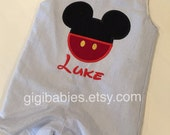 Blue seersucker boys shortall with mickey mouse applique and optional monogram by gigibabies