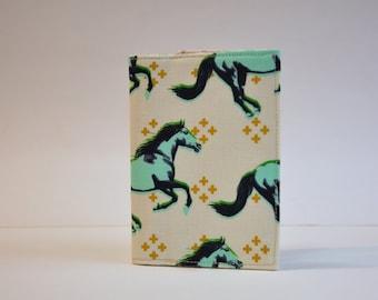 Passport  Holder- Passport Cover - Passport Sleeve - Wild Mustangs with gold on cream