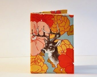 Passport Cover Sleeve Case Holder  Deer  Buck  on Floral Background  Cotton Fabric by Urban Chiks of Moda