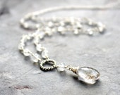 Moonstone Necklace Sterling Silver Crystal Quartz Long White Rainbow Moonstone Y Strand