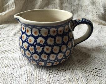 Boleslaweic Polish pottery stoneware signed creamer, vintage