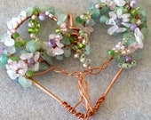 Flowering Heart Tree, Copper Heart Necklace, Wire sculpture Art Ooak jewelry Heart jewelry Love jewelry