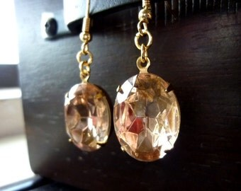 40% OFF SALE! - Vintage Rosaline Glass Jewels with Brass Ox Setting Earrings