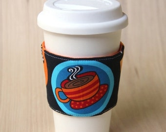 FINAL CLEARANCE Reversible Coffee Cup Sleeve - Coffee Cups with Orange Coffee Cozy - Ready to Ship