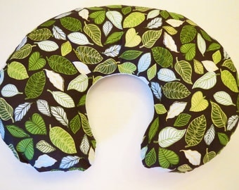 Boppy Nursing Pillow Cover: Modern Leaves on Brown with Polka Dots on White