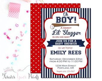 Baseball Baby Shower Invitation, Baby Boy Shower Invitation, Lil Slugger, Baseball Invitation, Boy Baby Shower, Red+Navy Blue Invite