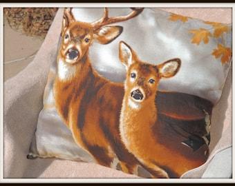 Deer and Doe Throw Pillow, Lodge Pillow, ski lodge decor, Mountain Decor, Rustic Decor, Nature Lover Decor, Hunter Decor, Man Cave Decor