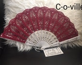 DEAL OF A WEEK Wedding folding Hand Fan in Burgundy, Feng Shui Gift, Wedding Accessory, Lolita, Bride Bouquet, Photo prop, Made in America