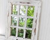 Rustic Farmhouse Window Mirror / Window Pane Mirror / Shabby Chic Mirror / Large Wall Mirror / Vintage Style