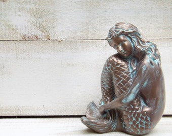 Mermaid Decor / Mermaid Sculpture / Patina / Rustic  / Beach /Coastal / Mermaid