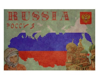 RUSSIA 1F- Personalized Leather Journal Cover Moleskine Field Notes Custom