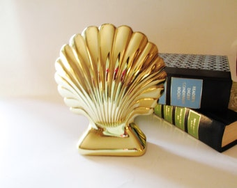 Vintage Baldwin Shell Bookend, Brass Door Stop, Henry Ford Museum, Palm Beach Decor, Hollywood Regency