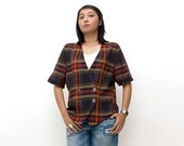 SUPER SALE ON Sale/Vintage 80s Blazer/80s Plaid Blouse/Black Orange Brown Plaid Short Sleeve Blazer, Extra Large