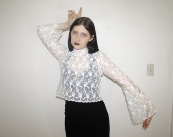 90s white floral lace bell sleeve mock neck top size small medium