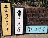 House Number Address Sign Beach Lake House Nautical by CastawaysHall - 3 Numbers Digits