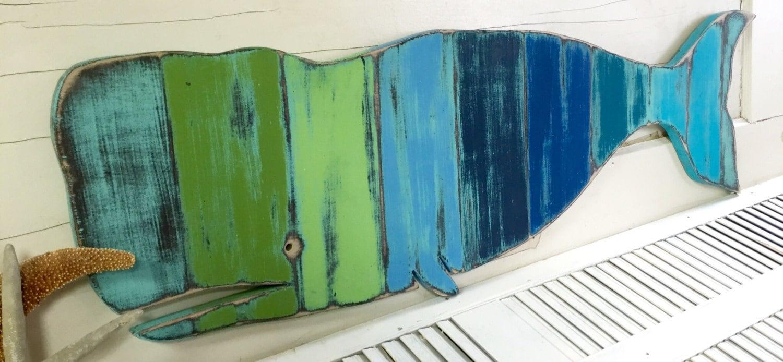 Blue Green Whale Art Sign Striped Beach House Nautical Beach