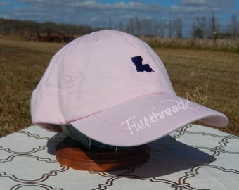 LADIES Mini State Baseball Cap Hat LEATHER strap Monogram Preppy Louisiana South Carolina Texas California Alabama Bachelorette Pigment Dyed