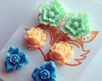 Flower Post Earring Set, three pair set of flower studs - cherry blossom, daffodil, primrose. Blue, peach, green.